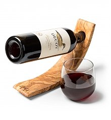 Personalized Wine Gifts: Olive Wood Floating Wine Holder with Wine