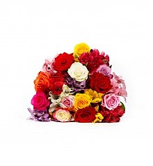 Flower Bouquets: Alstro-Rose Rainbow bouquet